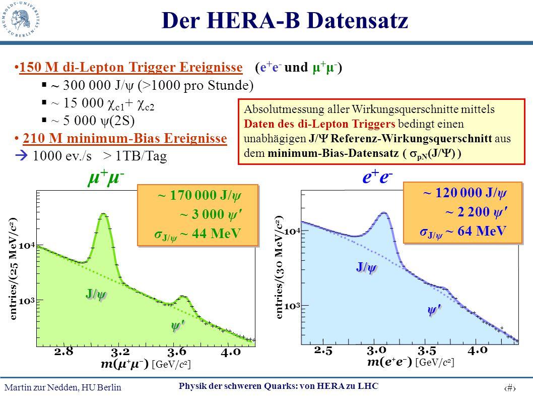 Martin zur Nedden, HU Berlin 19 Physik der schweren Quarks: von HERA zu LHC 150 M di-Lepton Trigger Ereignisse (e + e - und μ + μ - )  ~ 300 000 J/ψ