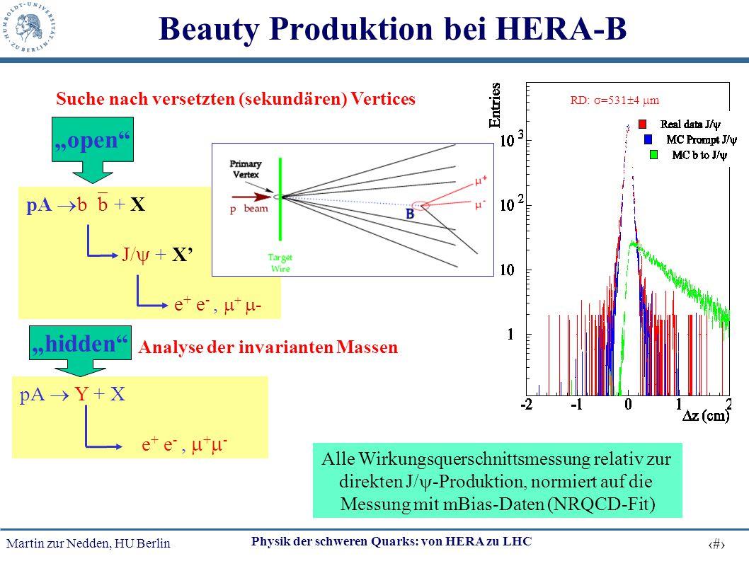 Martin zur Nedden, HU Berlin 20 Physik der schweren Quarks: von HERA zu LHC Beauty Produktion bei HERA-B pA  b  b + X J/  + X' e + e -,  +  - Suc