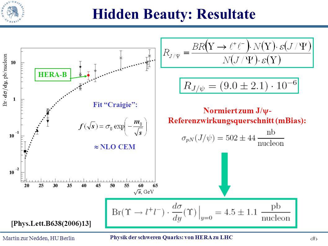 Martin zur Nedden, HU Berlin 22 Physik der schweren Quarks: von HERA zu LHC Hidden Beauty: Resultate Normiert zum J/  - Referenzwirkungsquerschnitt (