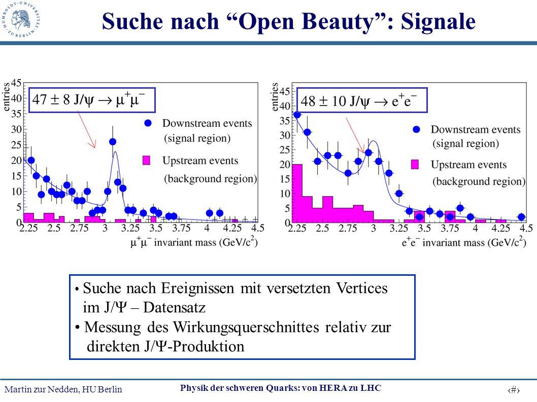 """Martin zur Nedden, HU Berlin 23 Physik der schweren Quarks: von HERA zu LHC Suche nach """"Open Beauty"""": Signale Suche nach Ereignissen mit versetzten Ve"""