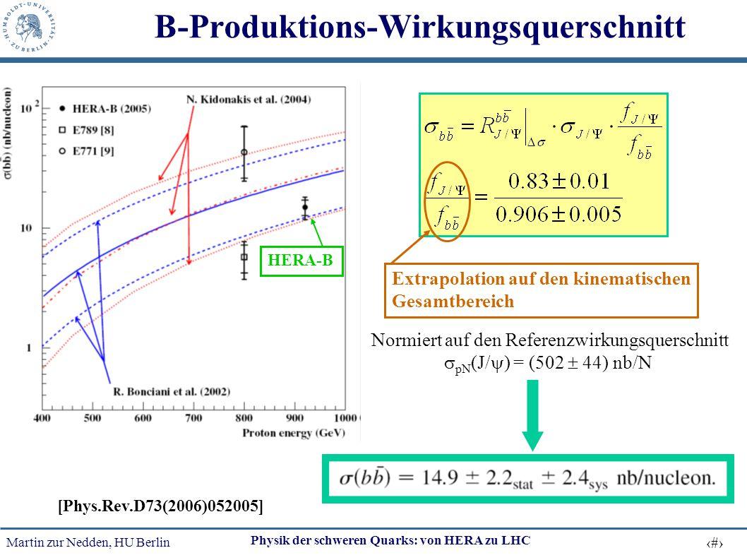 Martin zur Nedden, HU Berlin 24 Physik der schweren Quarks: von HERA zu LHC B-Produktions-Wirkungsquerschnitt Relative to prompt J/  to minimize unce