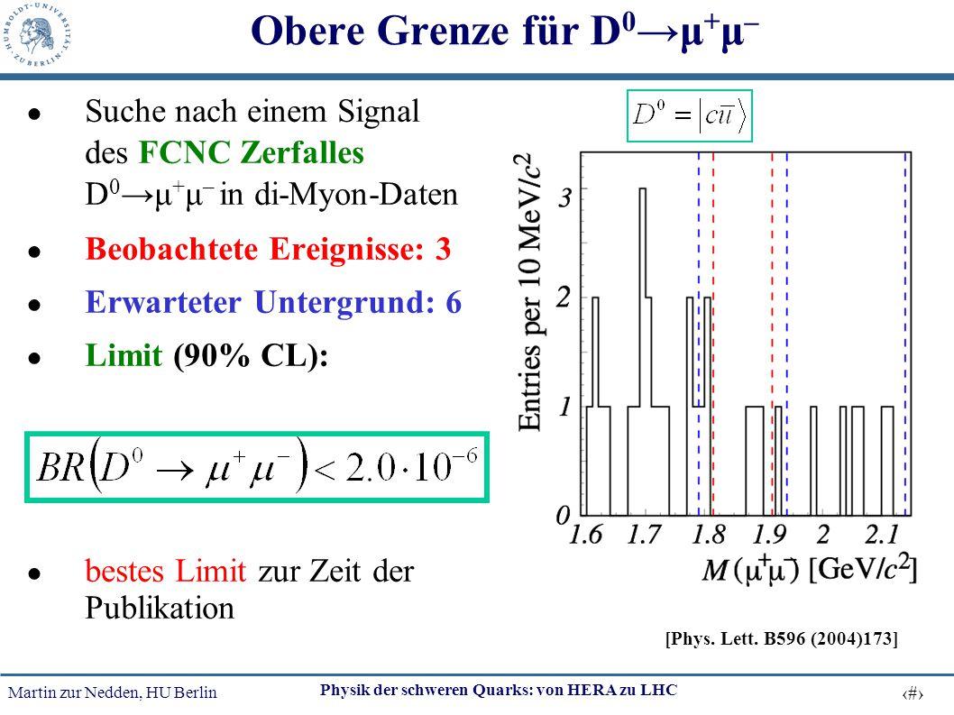 Martin zur Nedden, HU Berlin 25 Physik der schweren Quarks: von HERA zu LHC Obere Grenze für D 0 →μ + μ – ● Suche nach einem Signal des FCNC Zerfalles