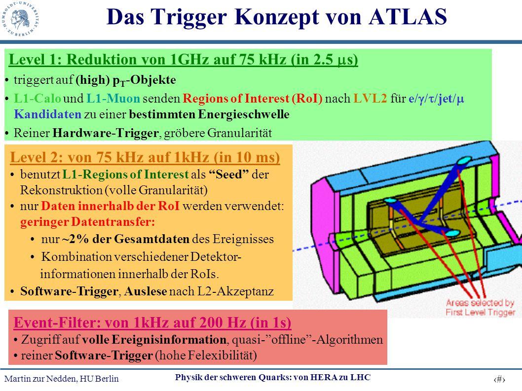 Martin zur Nedden, HU Berlin 29 Physik der schweren Quarks: von HERA zu LHC Das Trigger Konzept von ATLAS Level 1: Reduktion von 1GHz auf 75 kHz (in 2