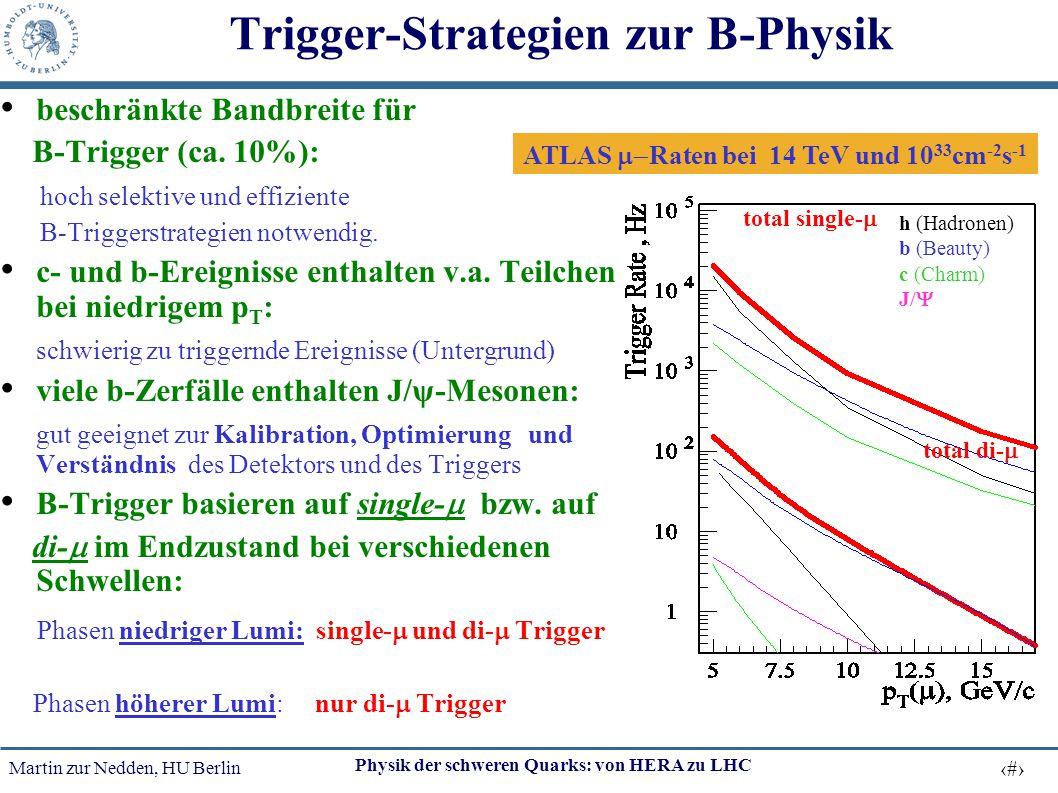 Martin zur Nedden, HU Berlin 34 Physik der schweren Quarks: von HERA zu LHC Trigger-Strategien zur B-Physik beschränkte Bandbreite für B-Trigger (ca.