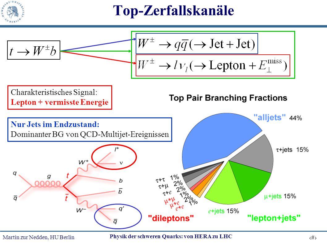 Martin zur Nedden, HU Berlin 36 Physik der schweren Quarks: von HERA zu LHC Top-Zerfallskanäle Charakteristisches Signal: Lepton + vermisste Energie N