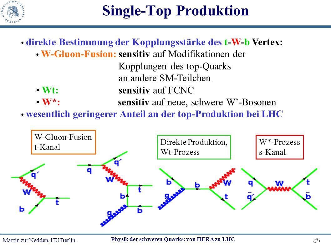 Martin zur Nedden, HU Berlin 38 Physik der schweren Quarks: von HERA zu LHC Single-Top Produktion direkte Bestimmung der Kopplungsstärke des t-W-b Ver