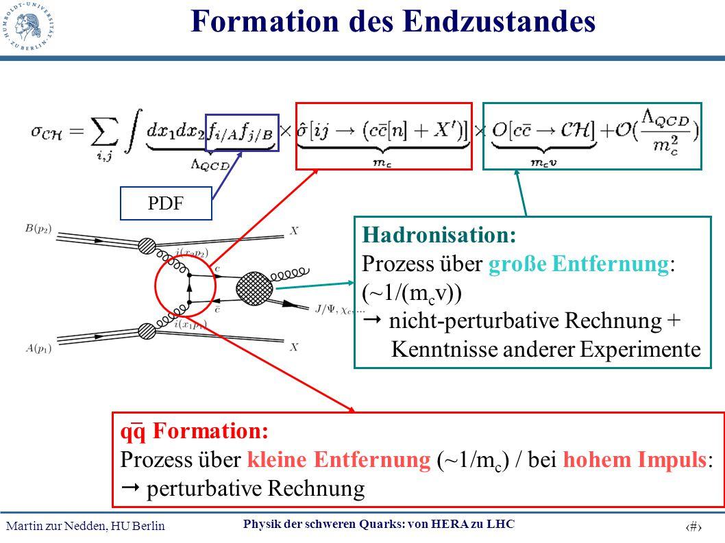Martin zur Nedden, HU Berlin 41 Physik der schweren Quarks: von HERA zu LHC Formation des Endzustandes Hadronisation: Prozess über große Entfernung: (
