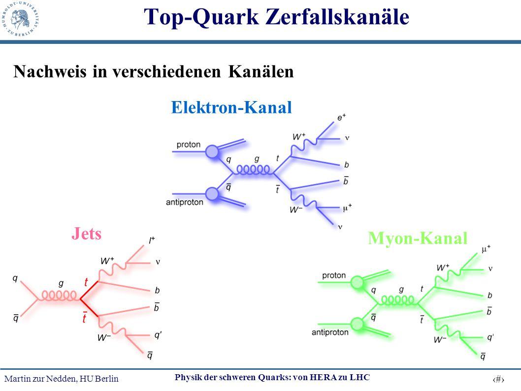 Martin zur Nedden, HU Berlin 43 Physik der schweren Quarks: von HERA zu LHC Top-Quark Zerfallskanäle Myon-Kanal Elektron-Kanal Jets Nachweis in versch