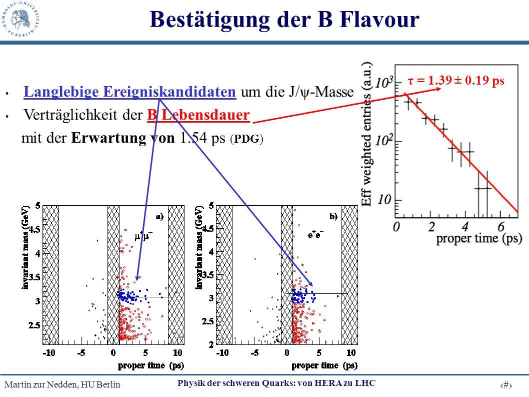 Martin zur Nedden, HU Berlin 46 Physik der schweren Quarks: von HERA zu LHC Bestätigung der B Flavour Langlebige Ereigniskandidaten um die J/ψ-Masse V