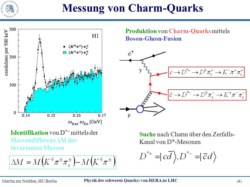 Martin zur Nedden, HU Berlin 47 Physik der schweren Quarks: von HERA zu LHC Messung von Charm-Quarks Produktion von Charm-Quarks mittels Boson-Gluon-F
