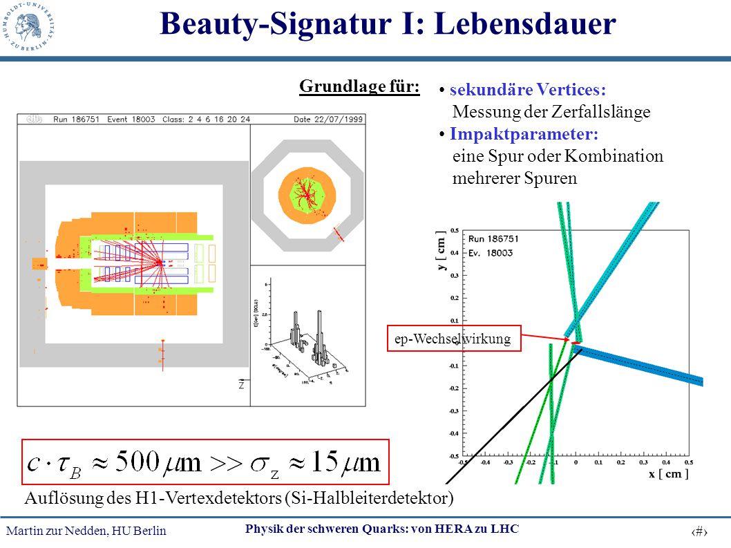 Martin zur Nedden, HU Berlin 48 Physik der schweren Quarks: von HERA zu LHC Beauty-Signatur I: Lebensdauer Auflösung des H1-Vertexdetektors (Si-Halble
