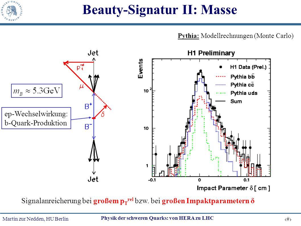 Martin zur Nedden, HU Berlin 49 Physik der schweren Quarks: von HERA zu LHC Beauty-Signatur II: Masse ep-Wechselwirkung: b-Quark-Produktion Signalanre