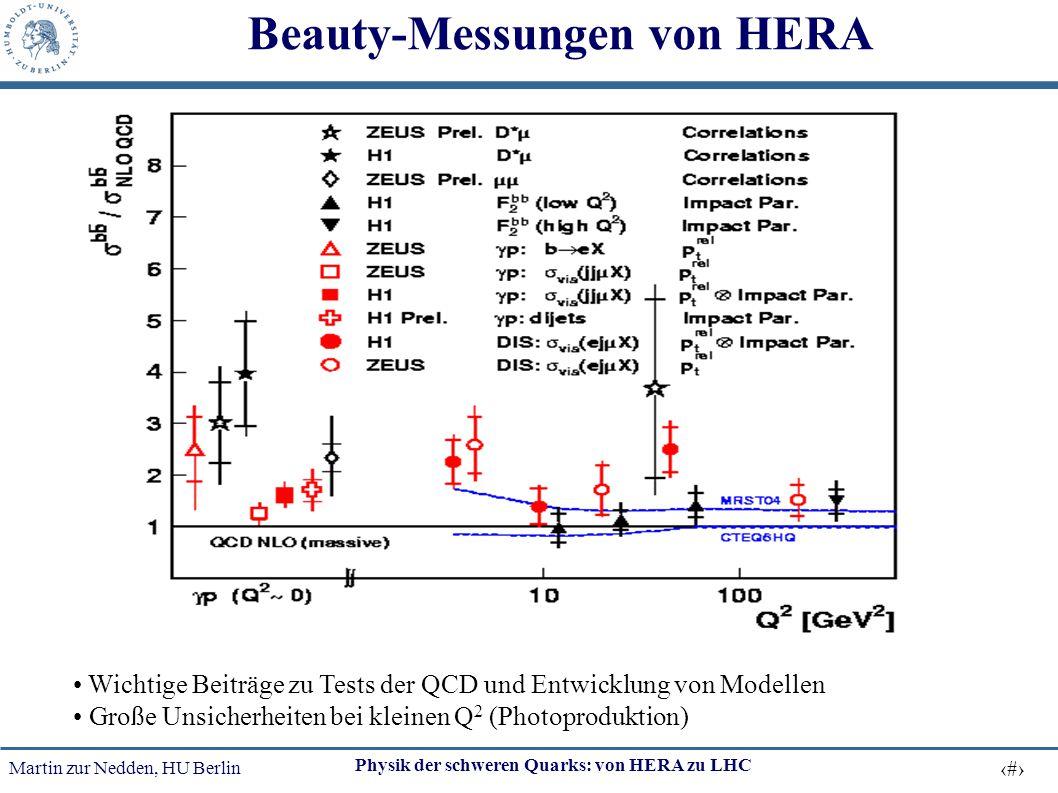 Martin zur Nedden, HU Berlin 50 Physik der schweren Quarks: von HERA zu LHC Beauty-Messungen von HERA Wichtige Beiträge zu Tests der QCD und Entwicklu
