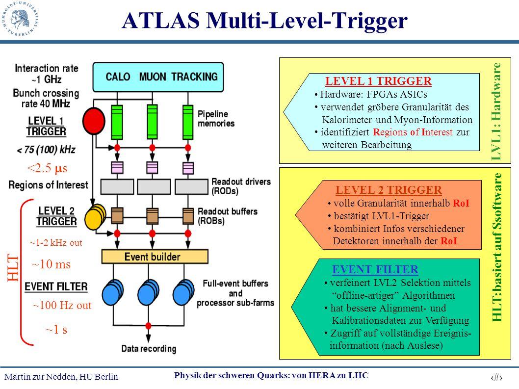 Martin zur Nedden, HU Berlin 51 Physik der schweren Quarks: von HERA zu LHC ATLAS Multi-Level-Trigger <2.5  s ~10 ms ~1 s HLT ~1-2 kHz out ~100 Hz ou