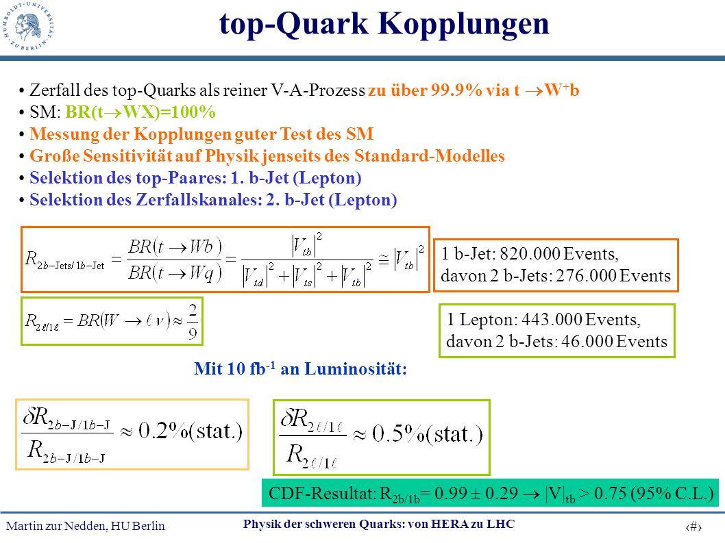 Martin zur Nedden, HU Berlin 53 Physik der schweren Quarks: von HERA zu LHC top-Quark Kopplungen Zerfall des top-Quarks als reiner V-A-Prozess zu über