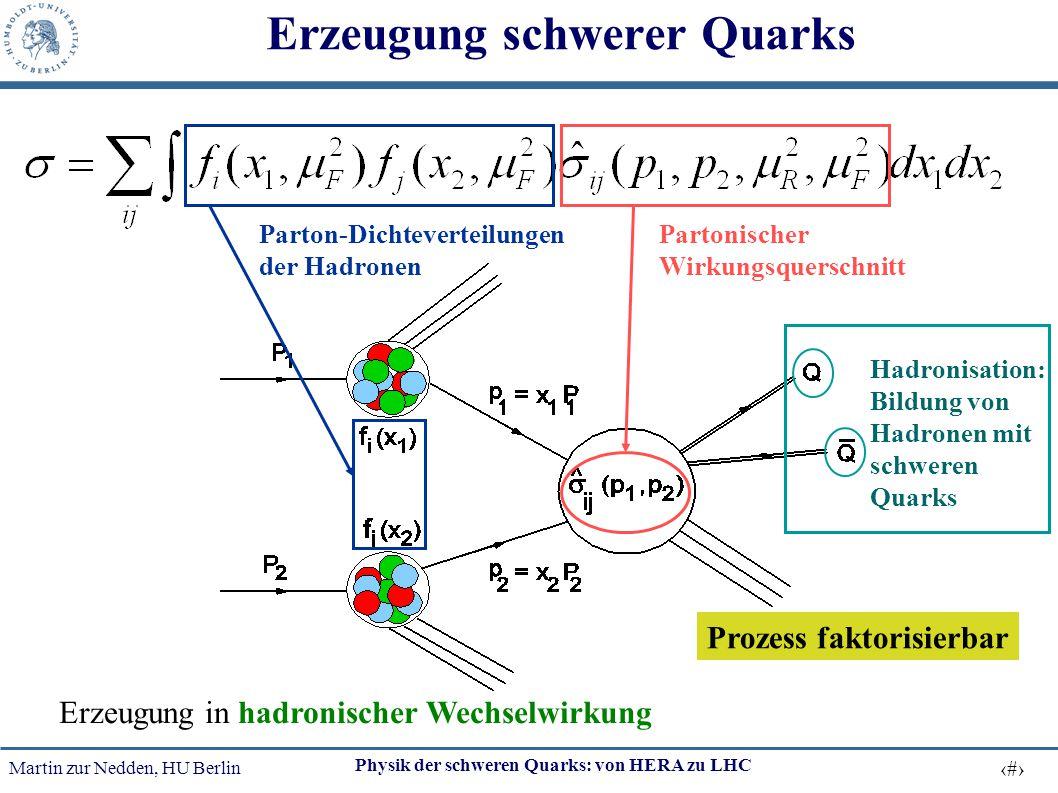 Martin zur Nedden, HU Berlin 6 Physik der schweren Quarks: von HERA zu LHC Erzeugung schwerer Quarks Erzeugung in hadronischer Wechselwirkung Parton-D