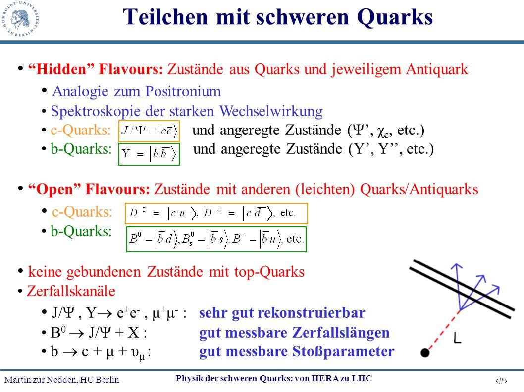 """Martin zur Nedden, HU Berlin 7 Physik der schweren Quarks: von HERA zu LHC """"Hidden"""" Flavours: Zustände aus Quarks und jeweiligem Antiquark Analogie zu"""