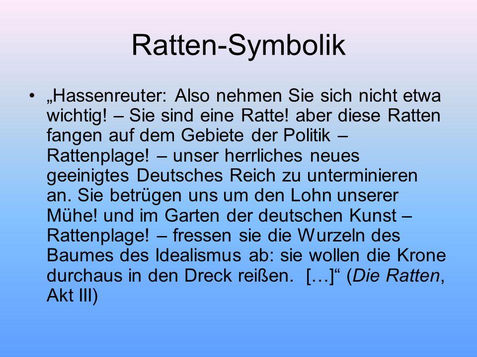 """Ratten-Symbolik """"Hassenreuter: Also nehmen Sie sich nicht etwa wichtig."""