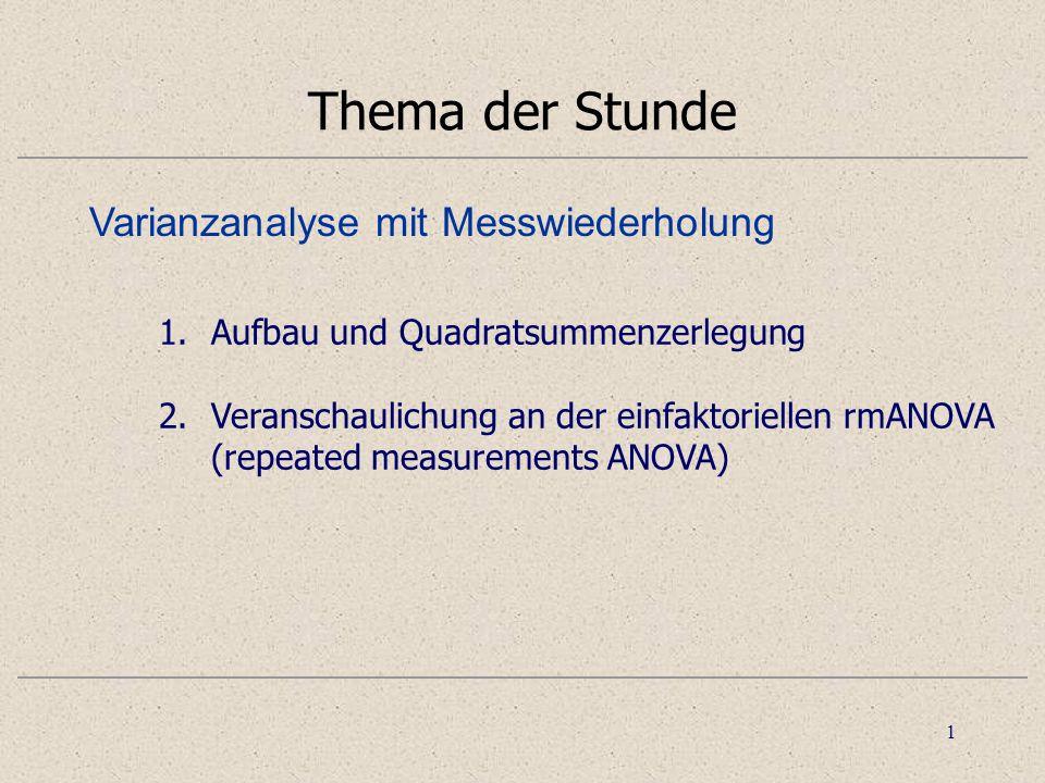 1 Thema der Stunde 1.Aufbau und Quadratsummenzerlegung 2.Veranschaulichung an der einfaktoriellen rmANOVA (repeated measurements ANOVA) Varianzanalyse