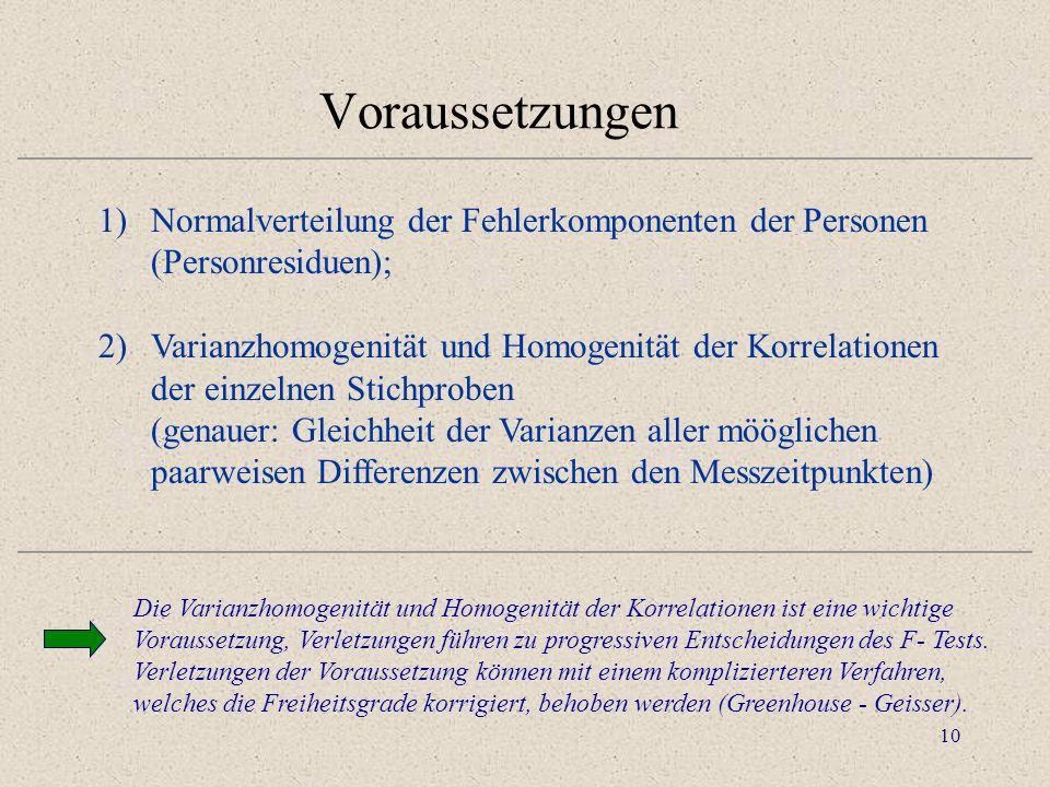 10 Voraussetzungen 1)Normalverteilung der Fehlerkomponenten der Personen (Personresiduen); 2)Varianzhomogenität und Homogenität der Korrelationen der
