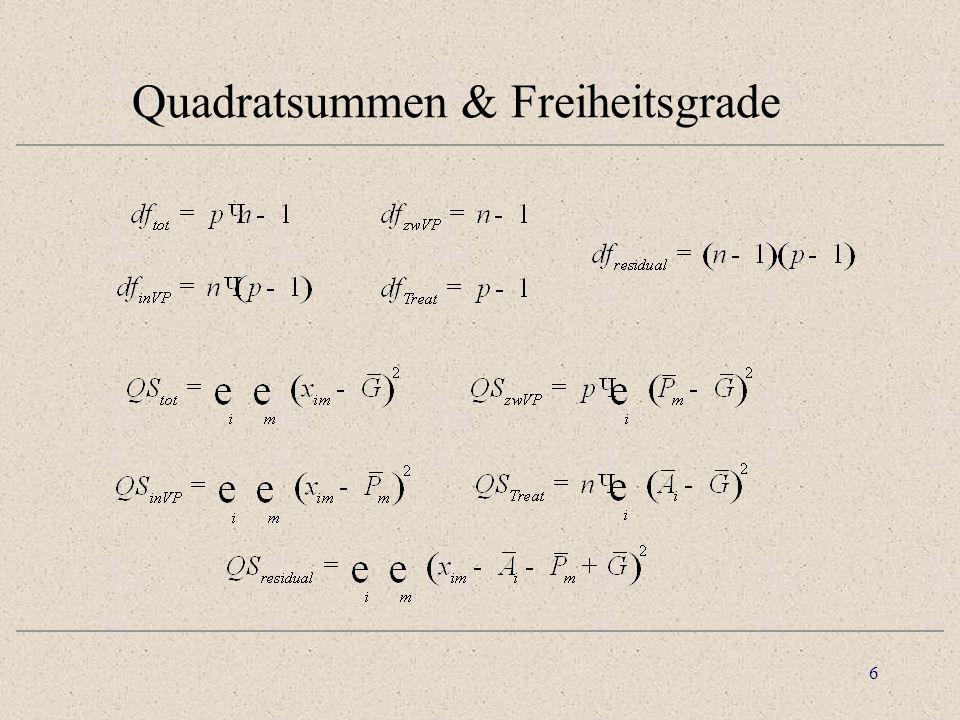 7 Kennziffern & Ergebnistabelle p· n -1(2) - (1)Total (n - 1)·(p - 1)(2) - (3) - (4) + (1)Residual p - 1(3) - (1)Treatment n·(p -1)(2) - (4)Innerhalb VP n - 1(4) - (1)zwischen VP F    QS/df dfQSQdV