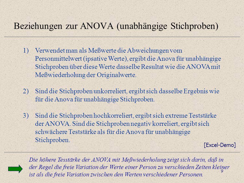 9 Beziehungen zur ANOVA (unabhängige Stichproben) 1)Verwendet man als Meßwerte die Abweichungen vom Personmittelwert (ipsative Werte), ergibt die Anov