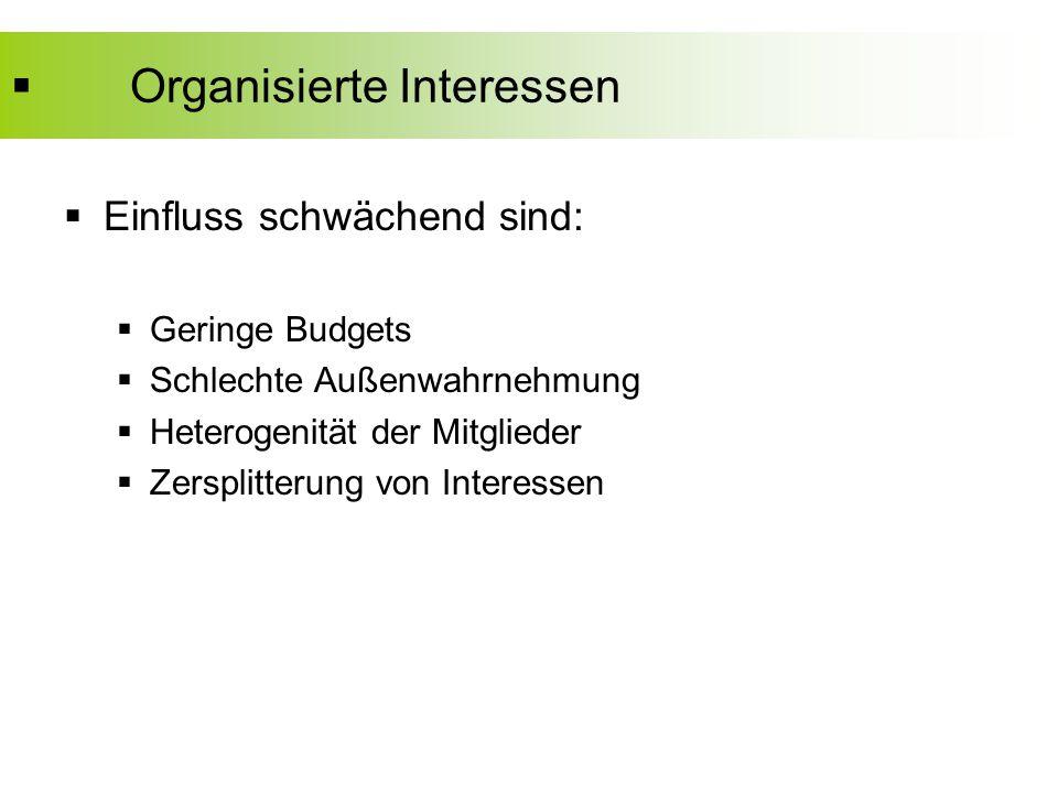  Organisierte Interessen  Einfluss schwächend sind:  Geringe Budgets  Schlechte Außenwahrnehmung  Heterogenität der Mitglieder  Zersplitterung von Interessen