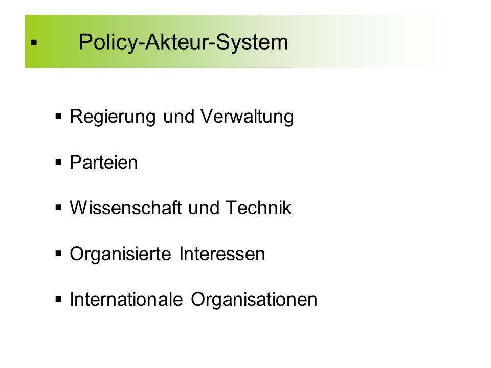  Policy-Akteur-System  Regierung und Verwaltung  Parteien  Wissenschaft und Technik  Organisierte Interessen  Internationale Organisationen