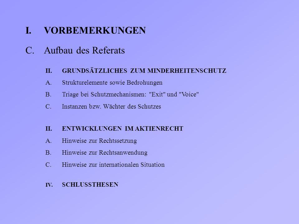 C.Aufbau des Referats II.GRUNDSÄTZLICHES ZUM MINDERHEITENSCHUTZ A.Strukturelemente sowie Bedrohungen B.Triage bei Schutzmechanismen: