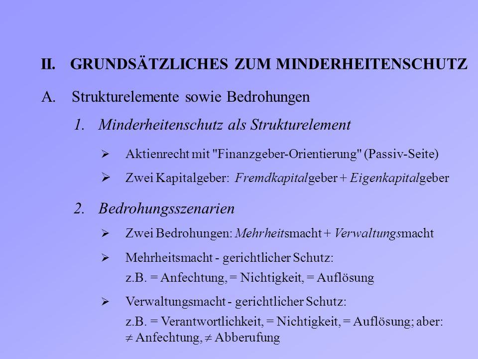 II.GRUNDSÄTZLICHES ZUM MINDERHEITENSCHUTZ A.Strukturelemente sowie Bedrohungen 1.Minderheitenschutz als Strukturelement  Aktienrecht mit