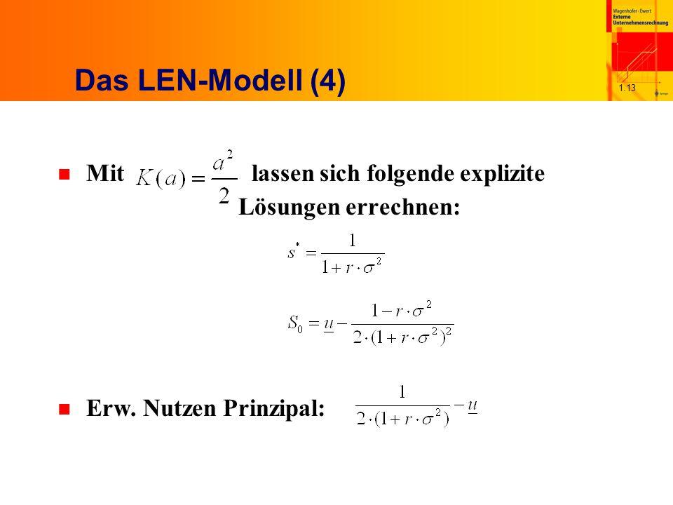 1.13 Das LEN-Modell (4) n Mit lassen sich folgende explizite Lösungen errechnen: n Erw. Nutzen Prinzipal: