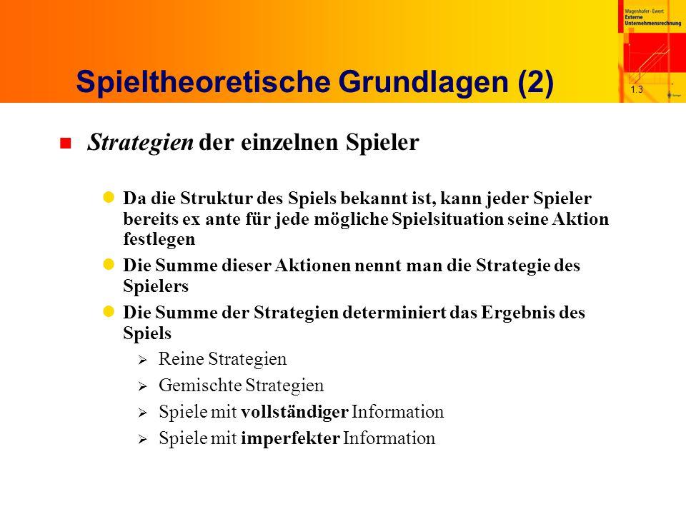 1.3 Spieltheoretische Grundlagen (2) n Strategien der einzelnen Spieler Da die Struktur des Spiels bekannt ist, kann jeder Spieler bereits ex ante für