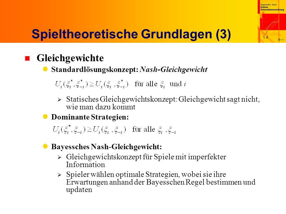 1.4 Spieltheoretische Grundlagen (3) n Gleichgewichte Standardlösungskonzept: Nash-Gleichgewicht  Statisches Gleichgewichtskonzept: Gleichgewicht sag