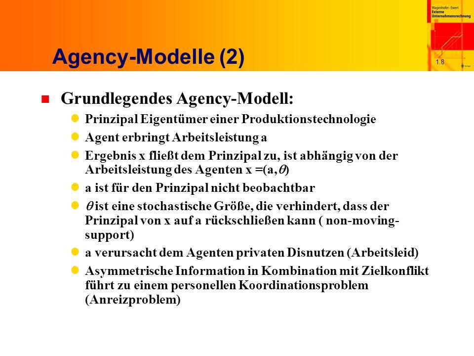 1.9 Agency-Modelle (3) Zur Lösung dieses Anreizproblems bietet der Prinzipal einen Entlohnungsvertrag mit geeigneten Leistungsanreizen an Dieser Vertrag muss dem Agenten zumindest seinen Reservationsnutzen zugestehen Darüber hinaus wird der Vertrag so konzipiert, dass der Agent die aus Sicht des Prinzipals ergebnismaximale Arbeitsleistung erbringt (AB) u.d.B.: E[U(S(x), a)]  U für alle a'(TB)