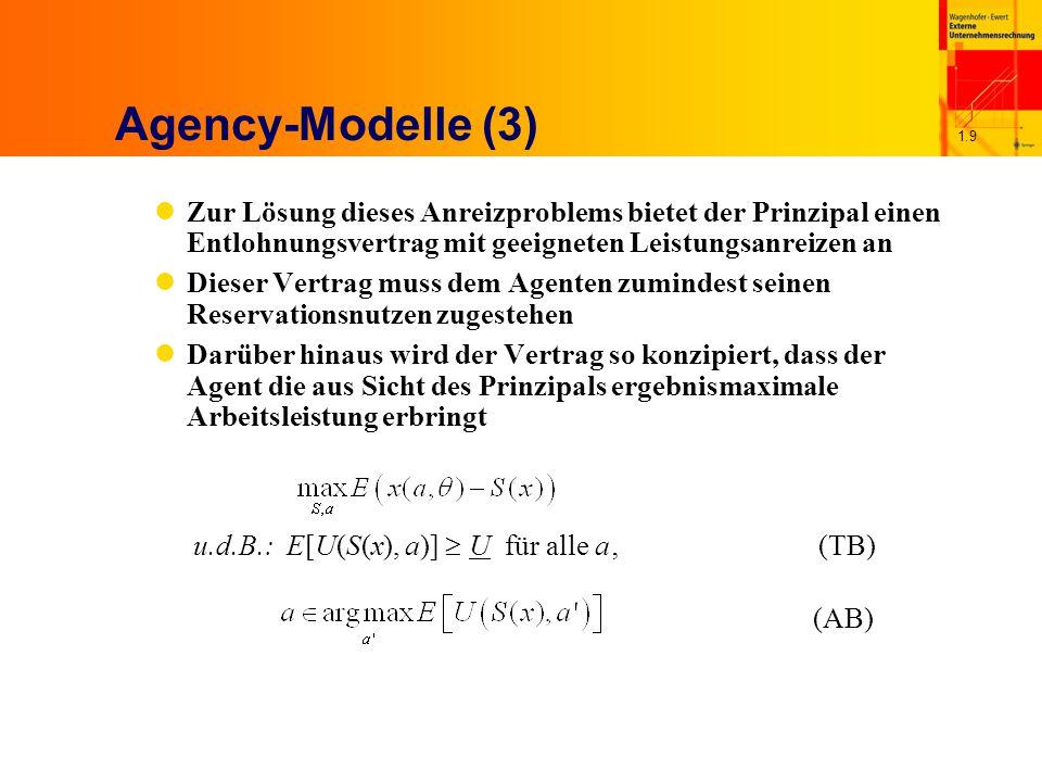 1.10 Das LEN-Modell (1) L = linear; E = exponentiell; N = normalverteilt n Ergebnis x linear in Arbeitsleistung und stochastischer Größe x = a+  n Die Entlohnungsfunktion ist linear in x S(x) = S 0 + s  x n Nutzenfunktion des Agenten exponentiell und multiplikativ separierbar in S und a U(S, a) = -exp[-r  (S - K(a))] n stochastische Größe ist normalverteilt mit N  (0,  2 )