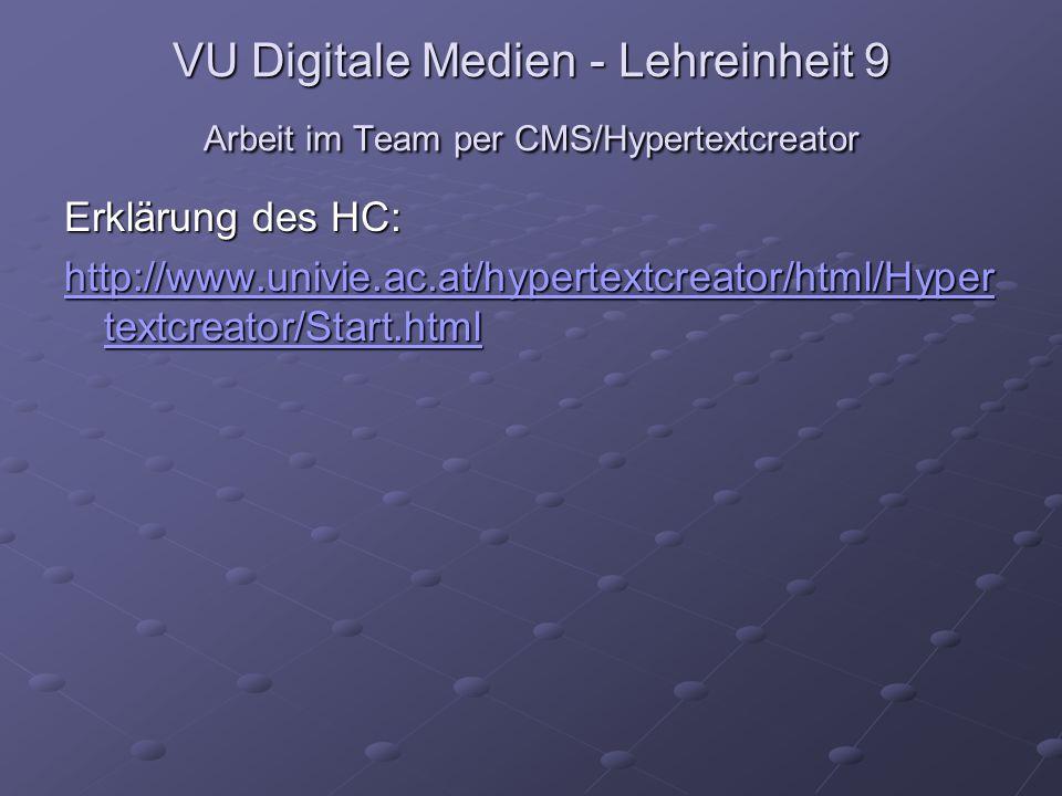VU Digitale Medien - Lehreinheit 9 Arbeit im Team per CMS/Hypertextcreator Erklärung des HC: http://www.univie.ac.at/hypertextcreator/html/Hyper textc
