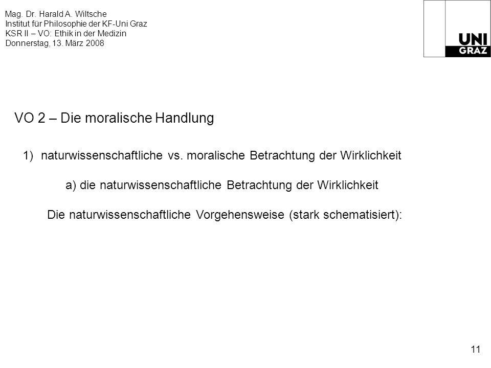 Mag. Dr. Harald A. Wiltsche Institut für Philosophie der KF-Uni Graz KSR II – VO: Ethik in der Medizin Donnerstag, 13. März 2008 11 VO 2 – Die moralis