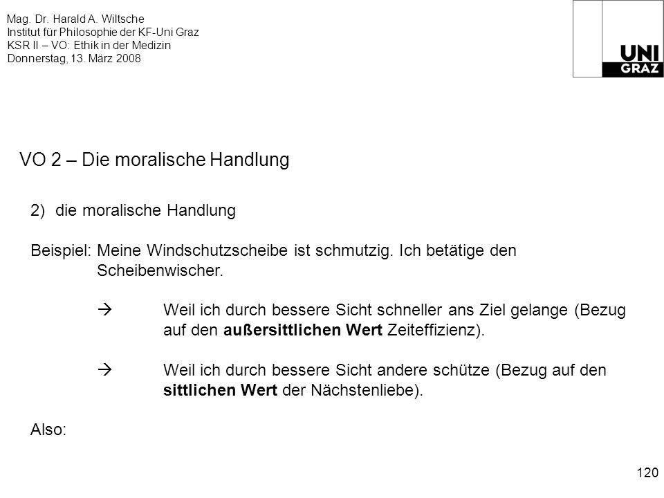 Mag. Dr. Harald A. Wiltsche Institut für Philosophie der KF-Uni Graz KSR II – VO: Ethik in der Medizin Donnerstag, 13. März 2008 120 VO 2 – Die morali