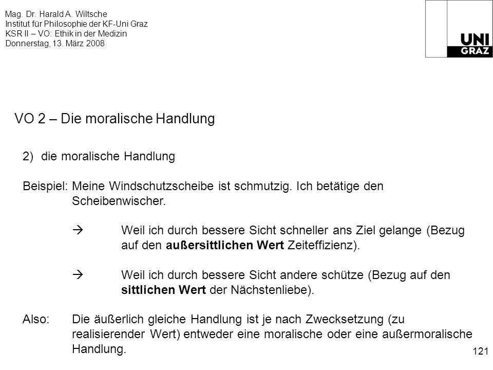 Mag. Dr. Harald A. Wiltsche Institut für Philosophie der KF-Uni Graz KSR II – VO: Ethik in der Medizin Donnerstag, 13. März 2008 121 VO 2 – Die morali