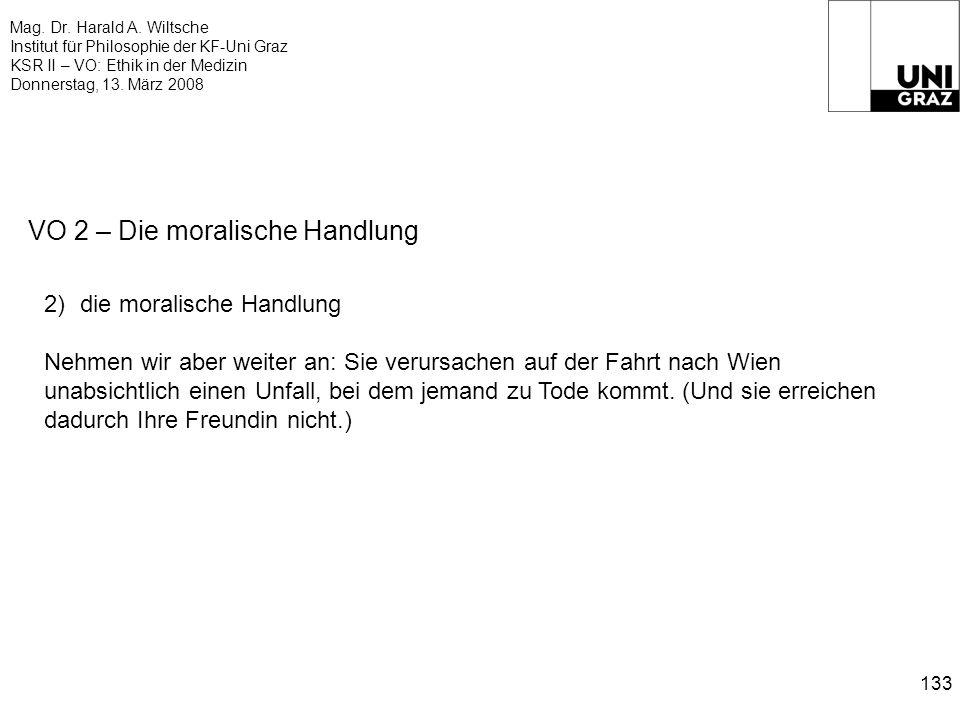 Mag. Dr. Harald A. Wiltsche Institut für Philosophie der KF-Uni Graz KSR II – VO: Ethik in der Medizin Donnerstag, 13. März 2008 133 VO 2 – Die morali