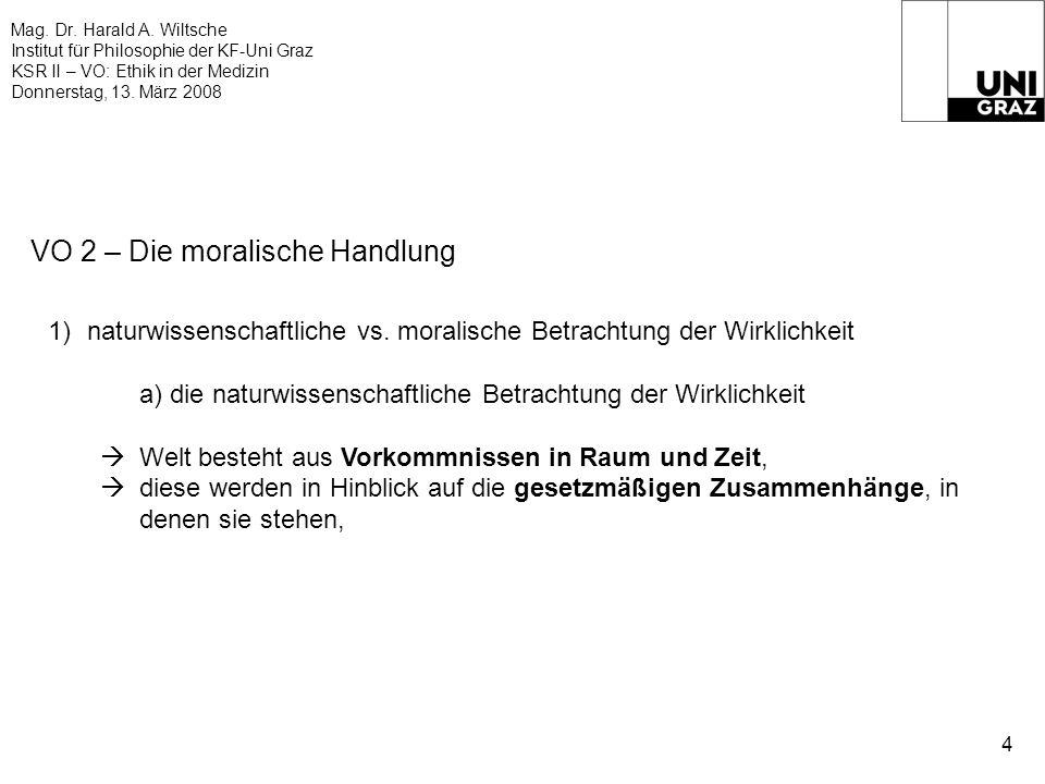 Mag. Dr. Harald A. Wiltsche Institut für Philosophie der KF-Uni Graz KSR II – VO: Ethik in der Medizin Donnerstag, 13. März 2008 4 VO 2 – Die moralisc