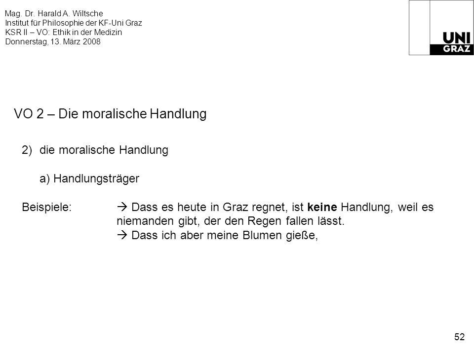 Mag. Dr. Harald A. Wiltsche Institut für Philosophie der KF-Uni Graz KSR II – VO: Ethik in der Medizin Donnerstag, 13. März 2008 52 VO 2 – Die moralis