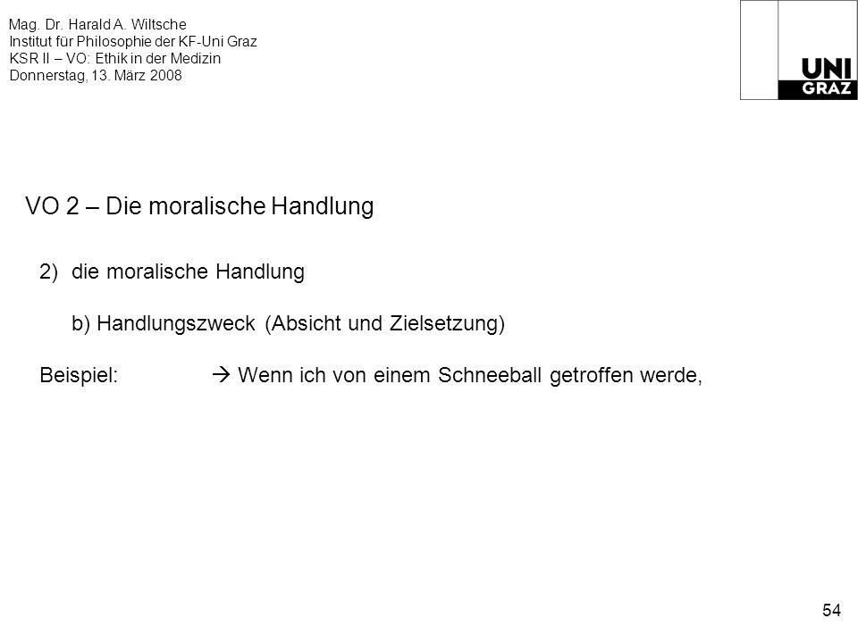 Mag. Dr. Harald A. Wiltsche Institut für Philosophie der KF-Uni Graz KSR II – VO: Ethik in der Medizin Donnerstag, 13. März 2008 54 VO 2 – Die moralis
