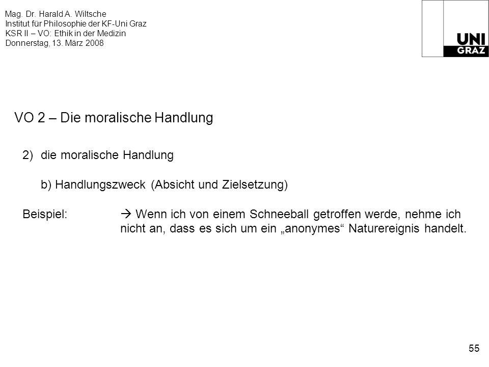 Mag. Dr. Harald A. Wiltsche Institut für Philosophie der KF-Uni Graz KSR II – VO: Ethik in der Medizin Donnerstag, 13. März 2008 55 VO 2 – Die moralis