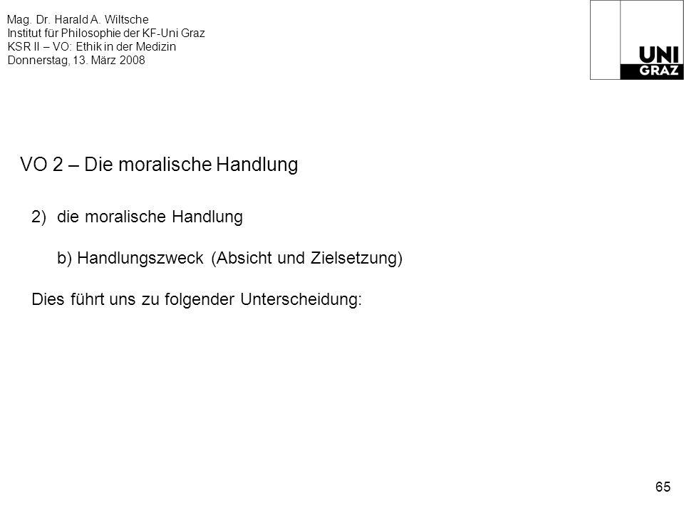Mag. Dr. Harald A. Wiltsche Institut für Philosophie der KF-Uni Graz KSR II – VO: Ethik in der Medizin Donnerstag, 13. März 2008 65 VO 2 – Die moralis