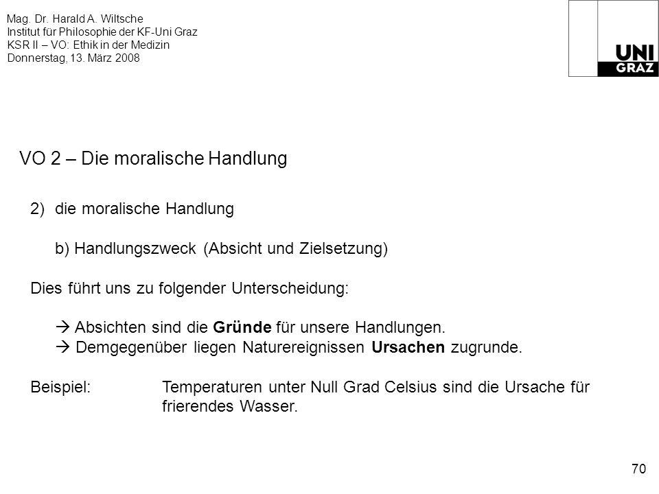 Mag. Dr. Harald A. Wiltsche Institut für Philosophie der KF-Uni Graz KSR II – VO: Ethik in der Medizin Donnerstag, 13. März 2008 70 VO 2 – Die moralis