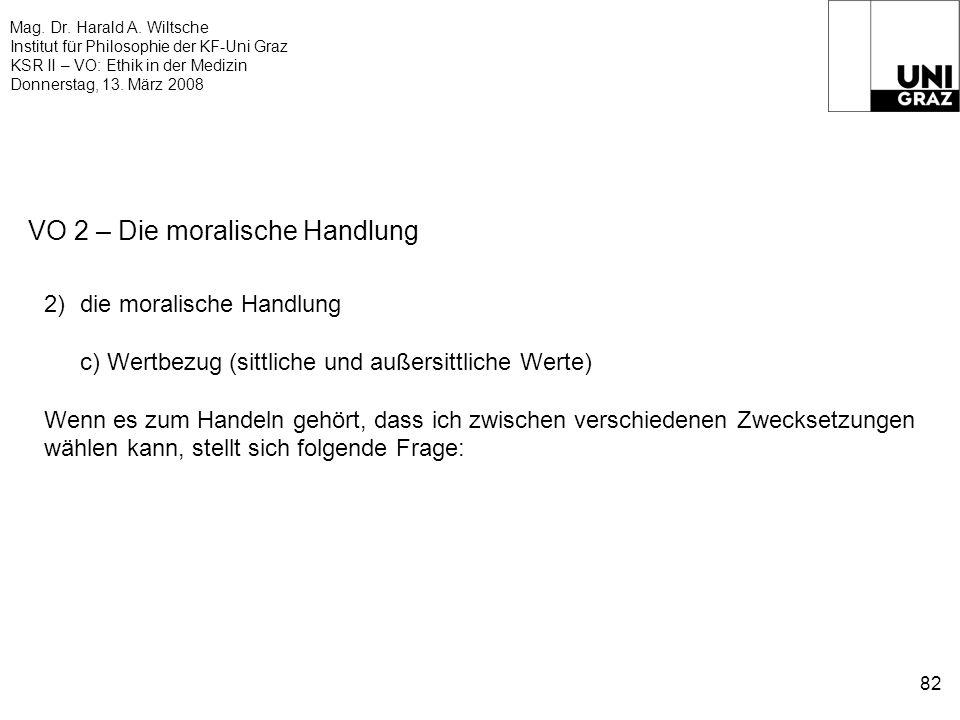 Mag. Dr. Harald A. Wiltsche Institut für Philosophie der KF-Uni Graz KSR II – VO: Ethik in der Medizin Donnerstag, 13. März 2008 82 VO 2 – Die moralis