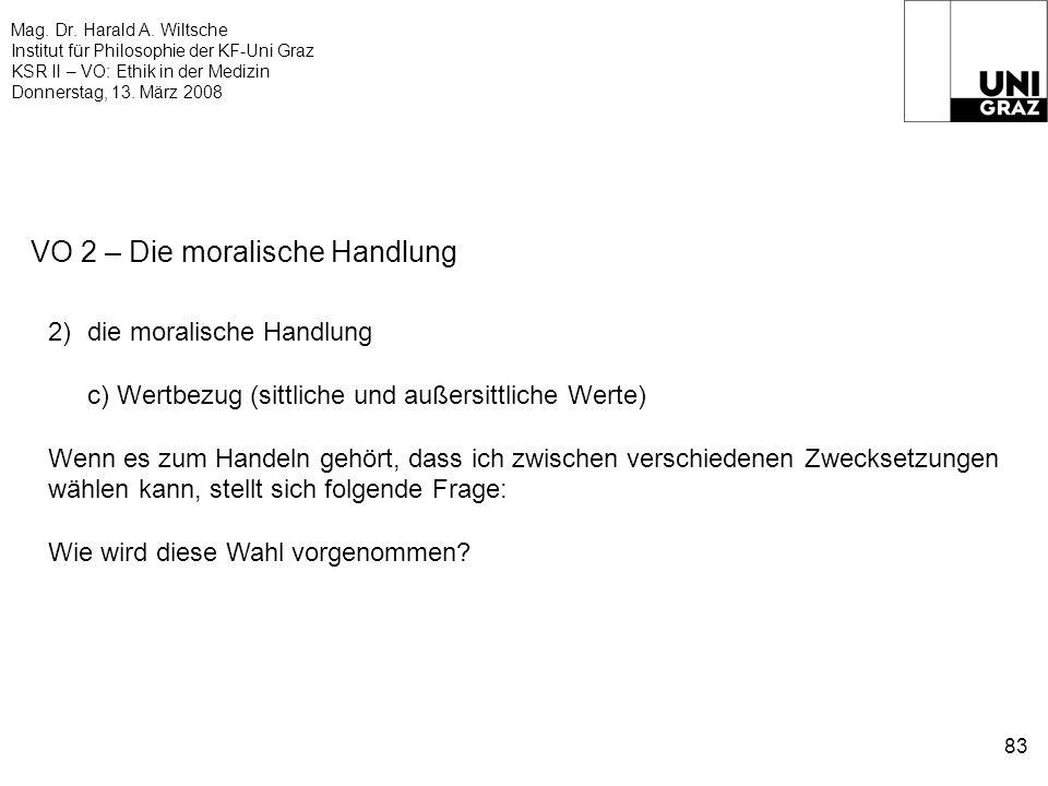 Mag. Dr. Harald A. Wiltsche Institut für Philosophie der KF-Uni Graz KSR II – VO: Ethik in der Medizin Donnerstag, 13. März 2008 83 VO 2 – Die moralis