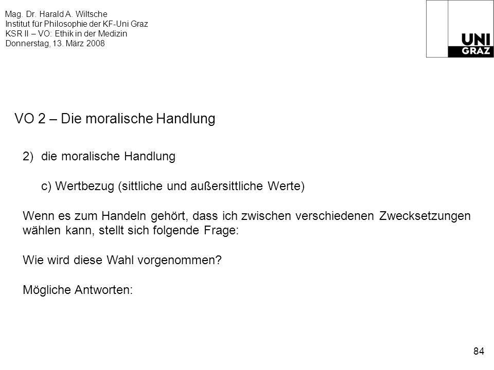 Mag. Dr. Harald A. Wiltsche Institut für Philosophie der KF-Uni Graz KSR II – VO: Ethik in der Medizin Donnerstag, 13. März 2008 84 VO 2 – Die moralis