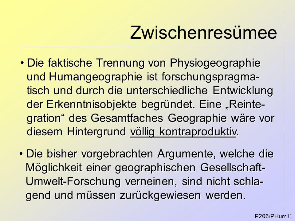 Zwischenresümee P206/PHum11 Die faktische Trennung von Physiogeographie Die faktische Trennung von Physiogeographie und Humangeographie ist forschungs